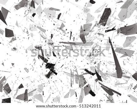 Pieces of destructed Shattered glass on white. 3d rendering 3d illustration