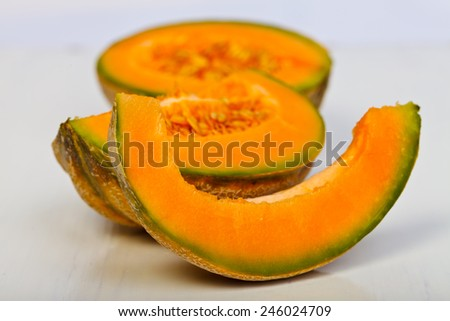 Pieces of fresh cutted yellow melons  - stock photo