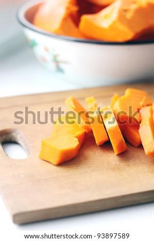 pieces of fresh raw pumpkin - stock photo