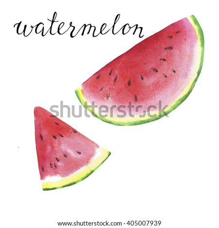 Pieces of fresh watermelon with hand lettering watermelon on white background.Hand drawn watercolor illustration. - stock photo