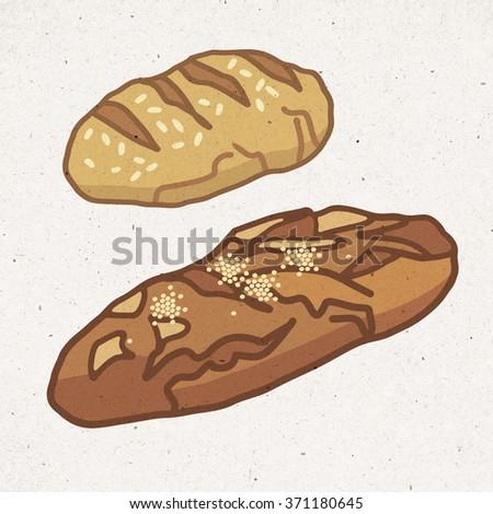 pieces of  healthy bread - stock photo