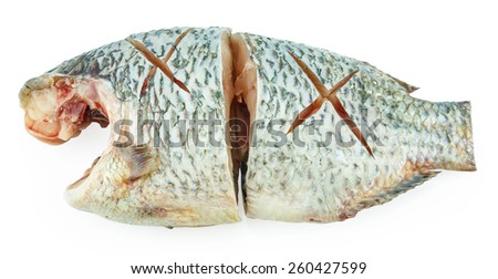 Pieces of herring on a white background - stock photo