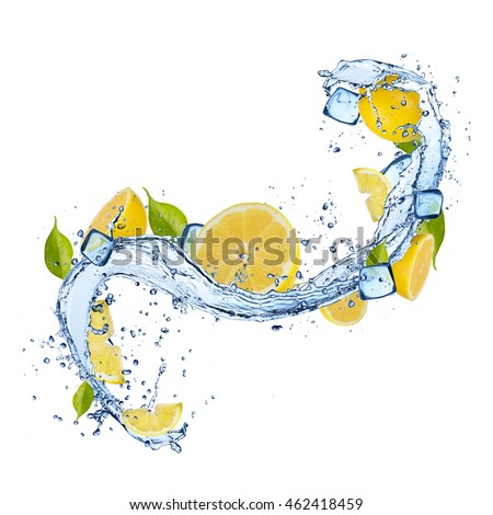 Pieces of lemons in water splash and ice cubes, isolated on white background