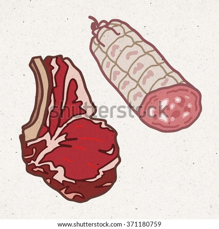 pieces of meat - beef and pork - stock photo