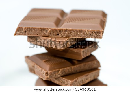 Pieces of milk chocolate