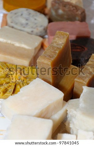 Pieces of natural handmade soap