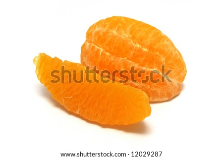 Pieces of Orange Peels with white background.