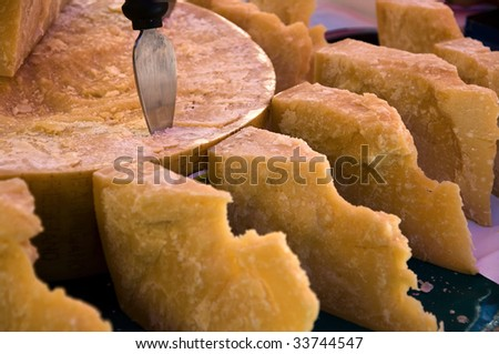 Pieces of Parmesan cheese - stock photo