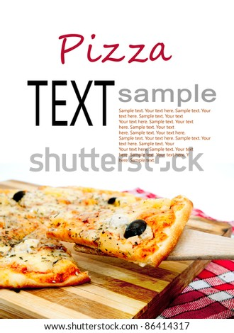 pieces of pizza are on the cutting board - stock photo