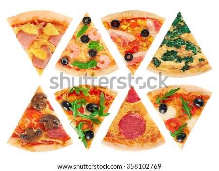 Pieces of pizza on a white background. Collection. - stock photo