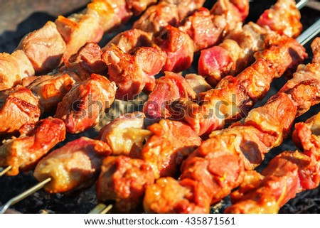 Pieces of pork being roasted on skewers over charcoal - stock photo