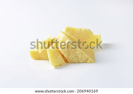 pieces of pure parmesan cheese - stock photo