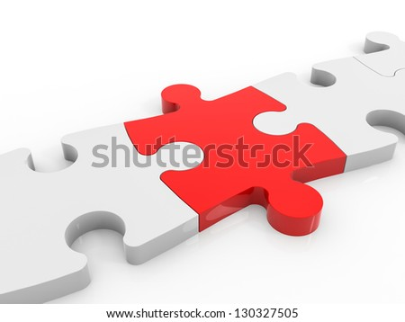 Pieces of puzzle. Connect solution. 3D illustration.