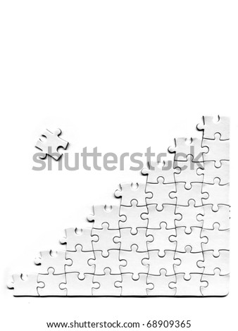 pieces of puzzle on a white background - stock photo