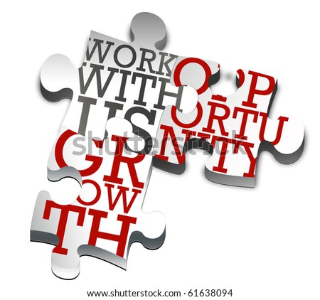 PIECES OF PUZZLE WITH BUSINESS WORDS - stock photo