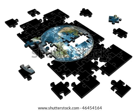Pieces of puzzle with image of Earth. 3d illustration