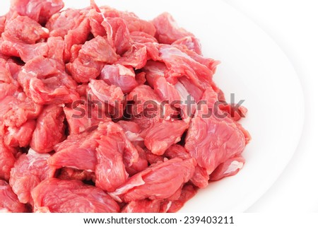 Pieces of Raw Veal Meat Isolated on White Background.  - stock photo