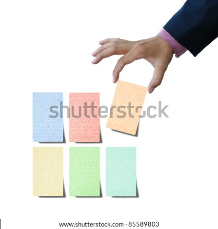 Pieces of recycled paper for make note on white background.
