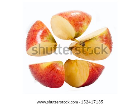 Pieces of red apple isolated on white background - stock photo