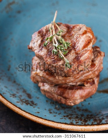 Pieces of red meat, steaks.selective focus - stock photo