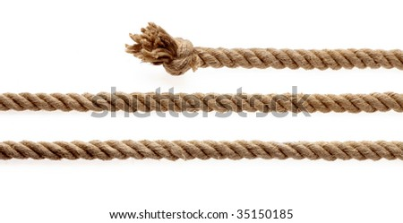 Pieces of rope with knot on a white background - stock photo