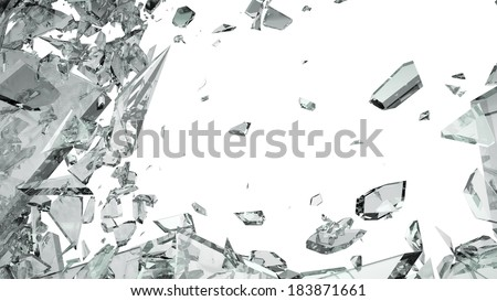 Pieces of shattered glass isolated on white. Large size - stock photo