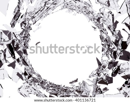 Pieces of Shattered glass on white background. Large resolution