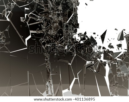Pieces of Shattered glass on white background. Large size - stock photo