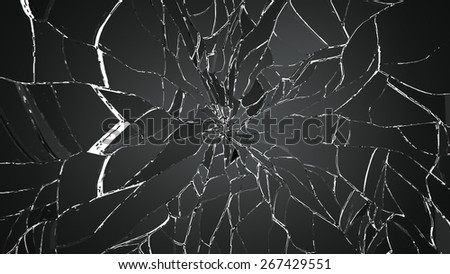 Pieces of shattered or cracked glass on white. Large resolution - stock photo