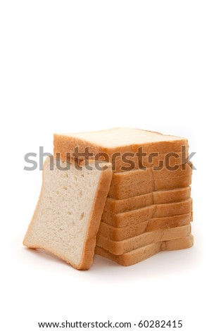 pieces of sliced bread isolated on white background - stock photo