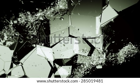 Pieces of smashed cracking glass on black. Large resolution - stock photo