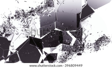 Pieces of smashed cracking glass on white. Large resolution