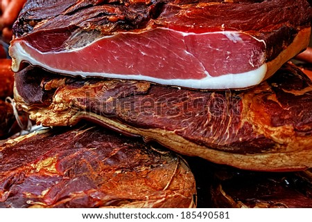 Pieces of smoked pork bacon overlapping.Traditional Romanian food, shall specify in the month of December. - stock photo