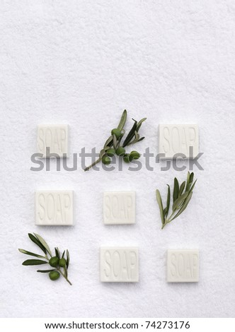 pieces of soap with small branches of an olive tree on a white towel - stock photo