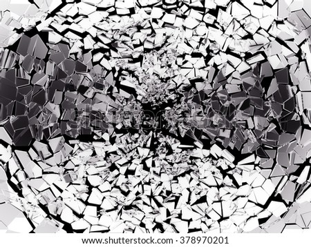 Pieces of split or broken glass on black. - stock photo