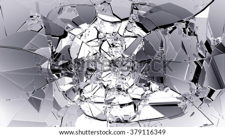 Pieces of split or cracked glass on black.  - stock photo