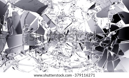 Pieces of split or cracked glass on white.