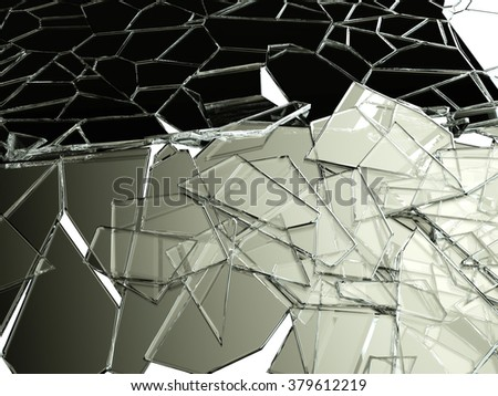 Pieces of split or cracked glass on white. - stock photo