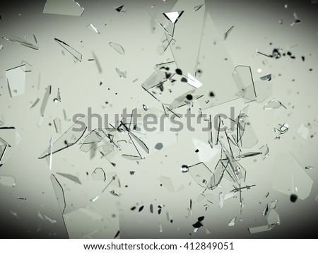 Pieces of splitted or cracked glass high resolution - stock photo