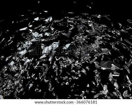 Pieces of splitted or cracked glass. Large resolution - stock photo