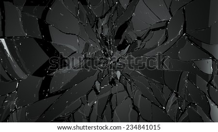 Pieces of splitted or cracked glass on black. Large resolution - stock photo
