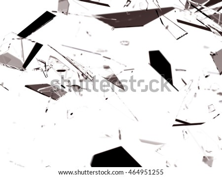 Pieces of splitted or cracked glass on on white 3d render 3D illustration