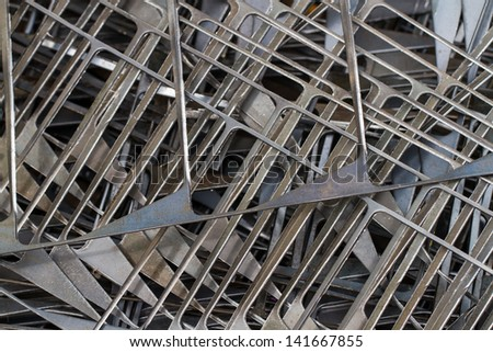 Pieces of swarf steels after process by rolling machine