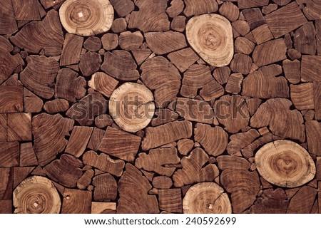 pieces of teak wood stump background - stock photo