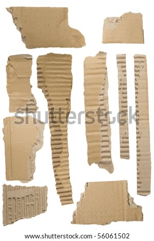 Pieces of torn brown corrugated cardboard, Isolated on White Background - stock photo