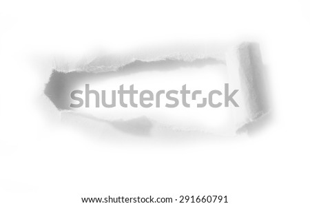 Pieces of torn hole paper on plain background. Copy space - stock photo