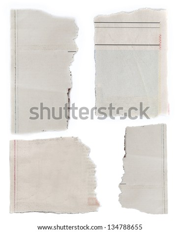 Pieces of torn paper on plain background. Copy space - stock photo