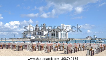 Pier and Beach of Sellin on Ruegen Island at baltic Sea,Mecklenburg Western Pomerania,Germany - stock photo