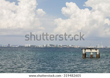 Pier and beacon of Ave river mouth - stock photo