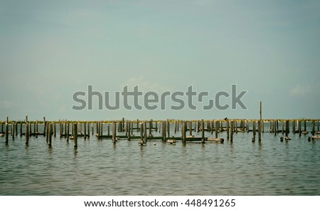 Pier and Boat Docks destroyed by Hurricane Katrina in Biloxi, Mississippi  - stock photo